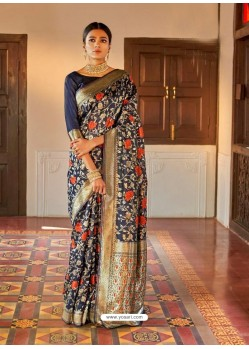 Peacock Blue Kansula Silk Jacquard Worked Designer Saree