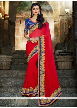 Fab Red Georgette Border Work Saree