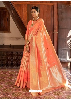 Orange Kansula Silk Jacquard Worked Designer Saree