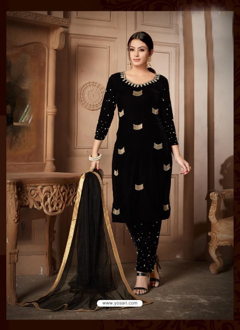 Buy Black Velvet Heavy Embroidery Designer Straight Suit Straight Salwar Suits