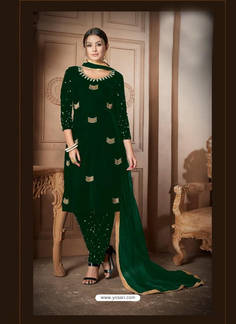 Buy Dark Green Velvet Heavy Embroidery Designer Straight Suit Straight Salwar Suits