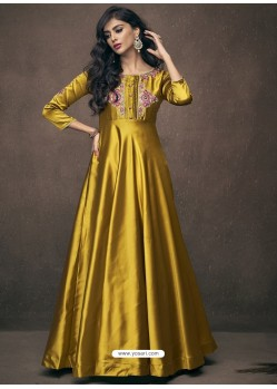 Golden Triva Satin Silk Embroidered Gown