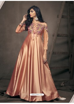 Light Orange Triva Satin Silk Embroidered Gown