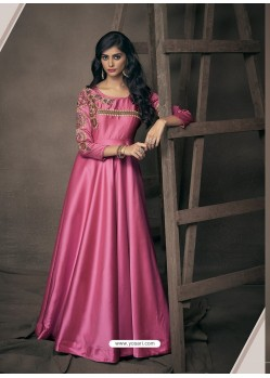 Magenta Triva Satin Silk Embroidered Gown