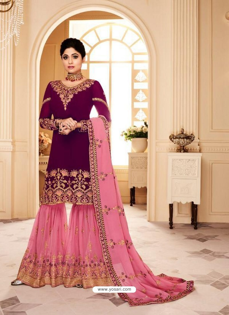 Purple And Pink Real Georgette Embroidered Designer Sharara Suit