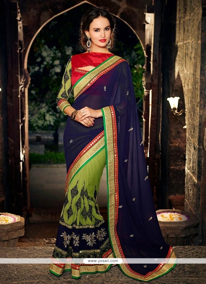 Ombre Green And Blue Georgette Half And Half Saree