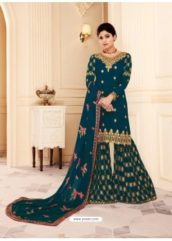 Teal Real Georgette Embroidered Designer Sharara Suit
