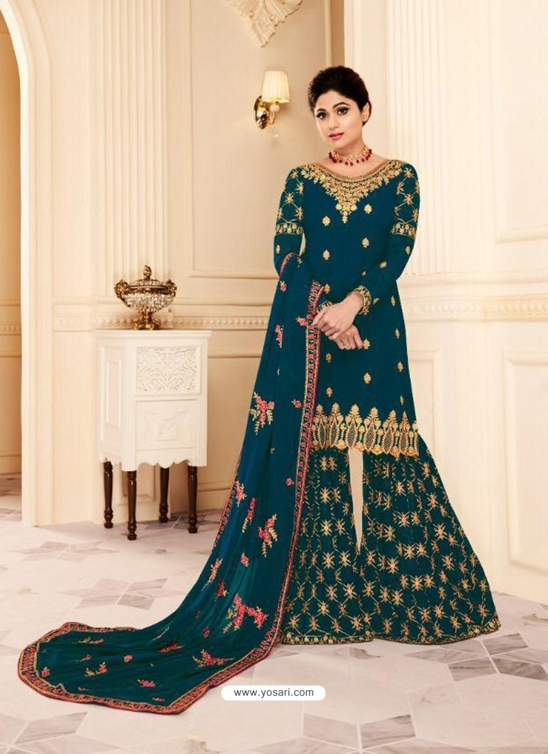 150f7d60f3 Buy Teal Real Georgette Embroidered Designer Sharara Suit | Palazzo ...
