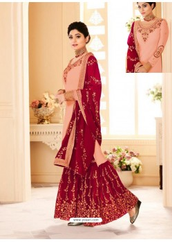 Peach And Red Real Georgette Embroidered Designer Sharara Suit