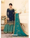 Navy And Mint Real Georgette Embroidered Designer Sharara Suit
