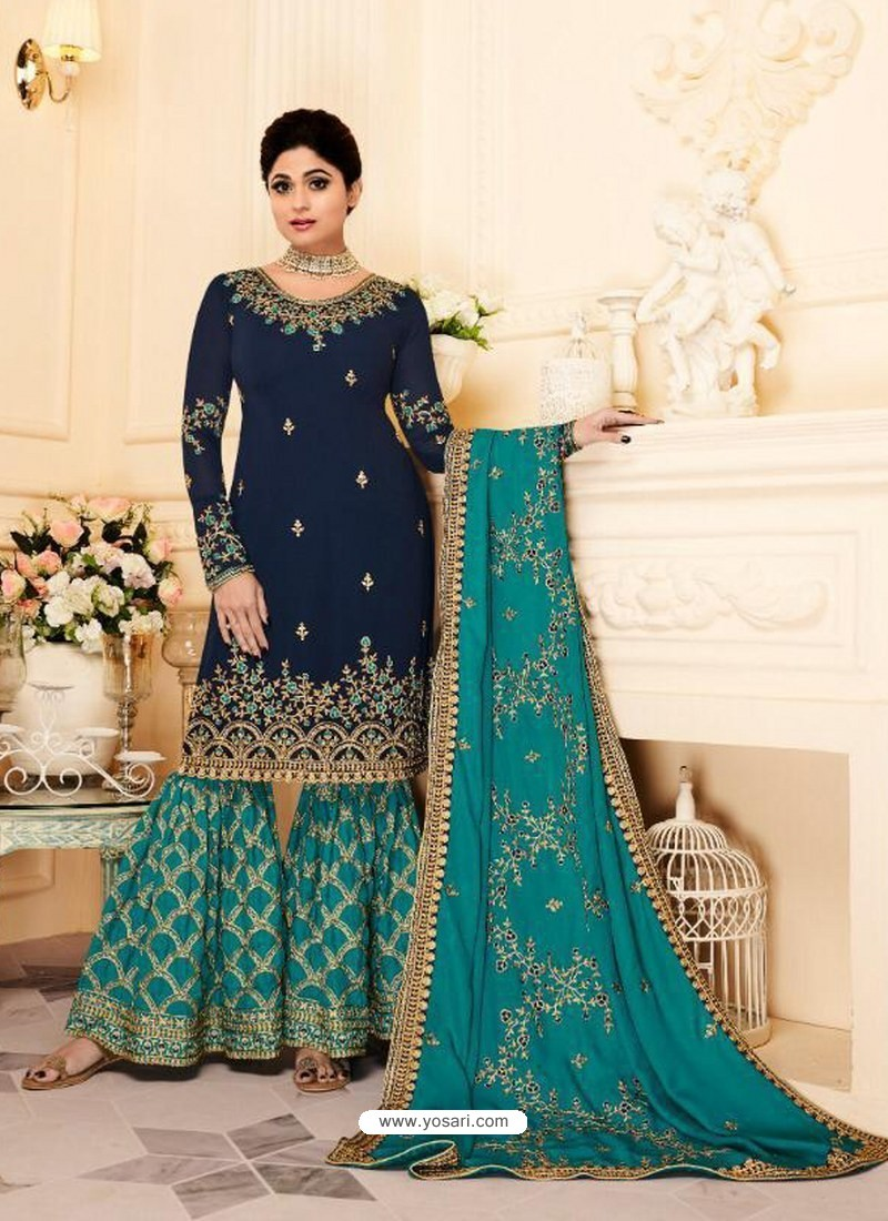 751c47f711548 Buy Navy And Mint Real Georgette Embroidered Designer Sharara Suit ...