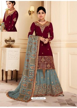 Maroon And Grey Real Georgette Embroidered Designer Sharara Suit