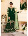 Dark Green Real Georgette Embroidered Designer Sharara Suit