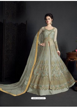 Grey Net Heavy Embroidered Anarkali Suit