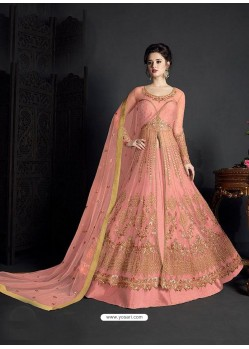 Light Orange Net Heavy Embroidered Anarkali Suit