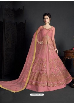 Peach Net Heavy Embroidered Anarkali Suit