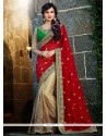 Beige And Red Georgette Half And Half Saree