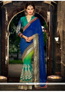 Blue Geogette Half And Half Saree
