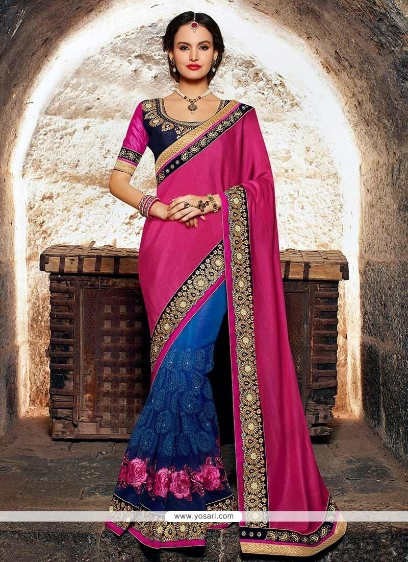 Elite Blue And Pink Georgette Half And Half Saree