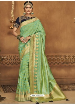 Sea Green Silk Jacquard Worked Party Wear Saree
