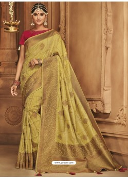 Mehendi Green Silk Jacquard Worked Party Wear Saree