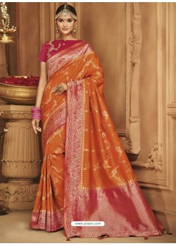 Rusty Silk Jacquard Worked Party Wear Saree