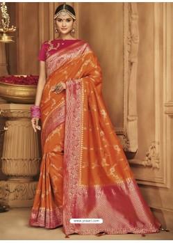 Rusty Silk Jacquard Worked Party Wear Saree