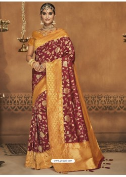 Maroon Silk Jacquard Worked Party Wear Saree