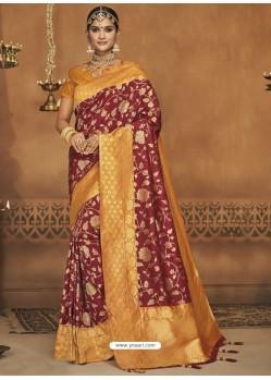 Maroon Silk Jacquard Worked Party Wear Saree