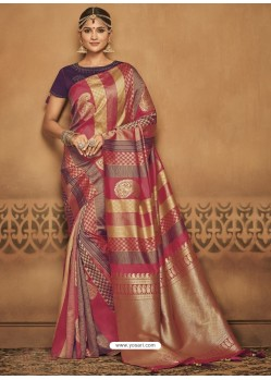 Multi Colour Silk Jacquard Worked Party Wear Saree