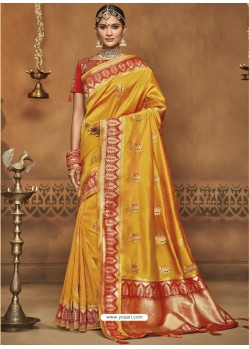 Yellow Silk Jacquard Worked Party Wear Saree