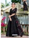 Black Organza Printed Designer Gown