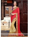 Fab Beige And Red Art Silk Half And Half Saree