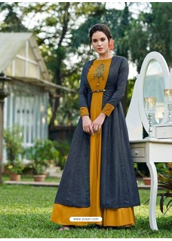 Mustard Silk Embroidered Designer Gown