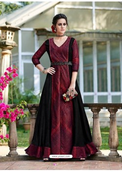 Wine And Black Silk Embroidered Designer Gown