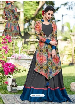 Grey And Multi Silk Embroidered Designer Gown
