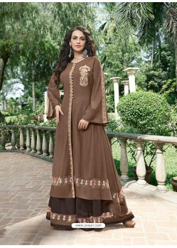 Coffee Silk Embroidered Designer Gown