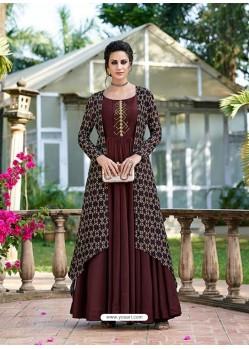 Deep Scarlet Silk Printed Designer Gown