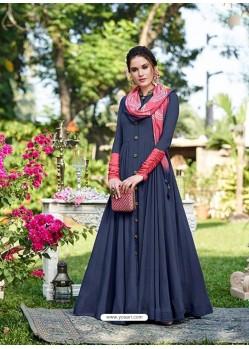 Pigeon Silk Printed Designer Gown