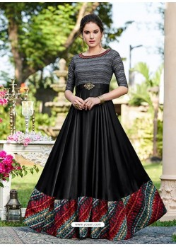 Black And Carbon Satin Printed Designer Gown