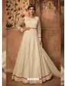Off White Net Embroidered Designer Anarkali Suit