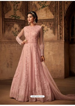 Pink Net Embroidered Designer Anarkali Suit