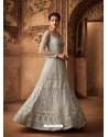 Grey Net Embroidered Designer Anarkali Suit