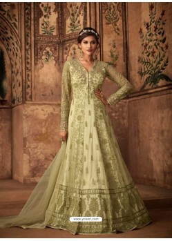 Green Net Embroidered Designer Anarkali Suit