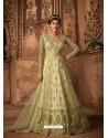 Green Net Embroidered Designer Anarkali Suit