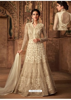 Cream Net Embroidered Designer Anarkali Suit