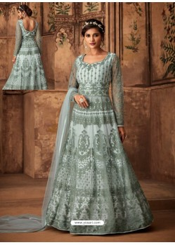Sky Blue Net Embroidered Designer Anarkali Suit