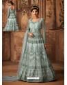 Sky Blue Net Embroidered Designer Anarkali Suit