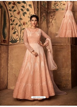 Peach Net Embroidered Designer Anarkali Suit