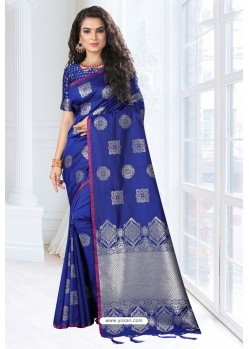Royal Blue Silk Designer Saree